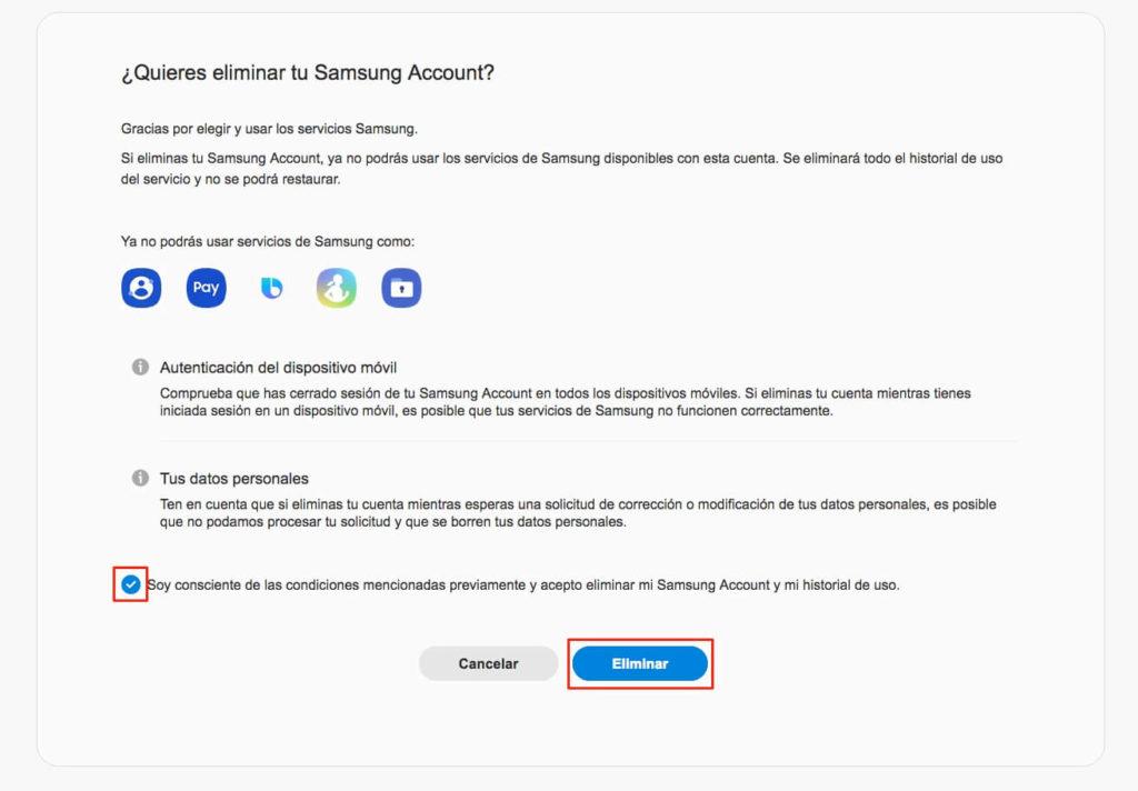 Eliminar cuenta de Samsung paso 5