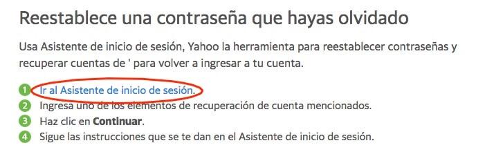 Pasos para reiniciar la contraseña de Yahoo