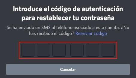 Recueperar Discord sin correo electronico paso 3