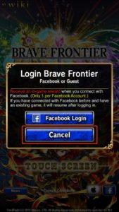 Recuperar cuenta de brave frontier facebook paso 2