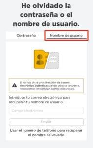 Recuperar nombre de usuario roblox paso 1