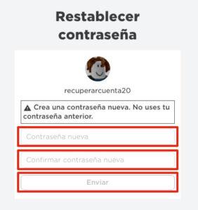 Reiniciar cotnraseña roblox paso 3