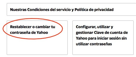 restablecer la contraseña de Yahoo