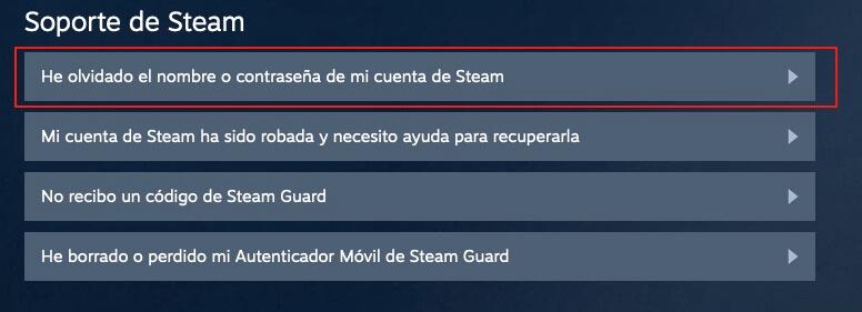 Recuperar contraseña Steam paso 2