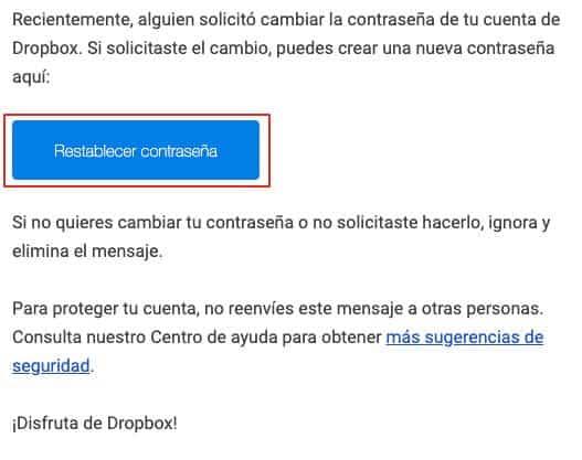 Recuperar contraseña de Dropbox paso 4