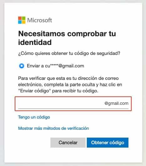 Recuperar contraseña de Outlook paso 5