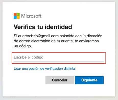 Recuperar contraseña de Outlook paso 6