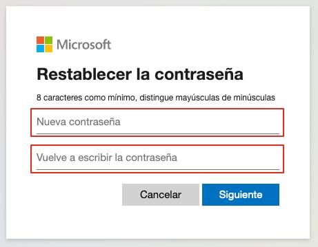 Recuperar contraseña de Outlook paso 7