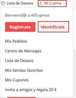 Recuperar cuenta de AliExpress paso 1