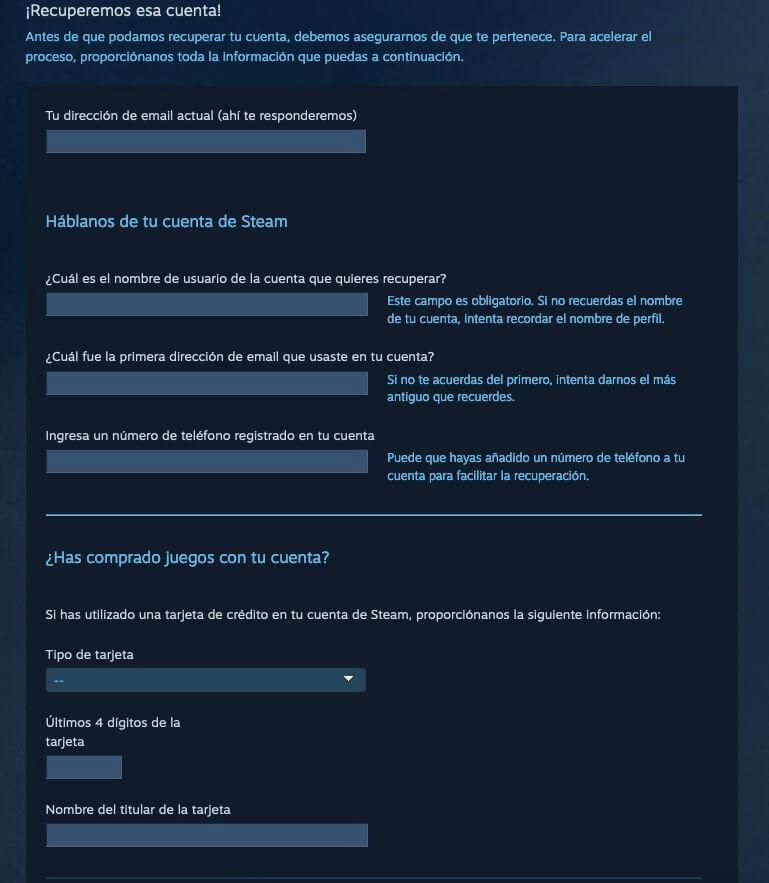 Recuperar cuenta de Steam con soporte tecnico paso 3