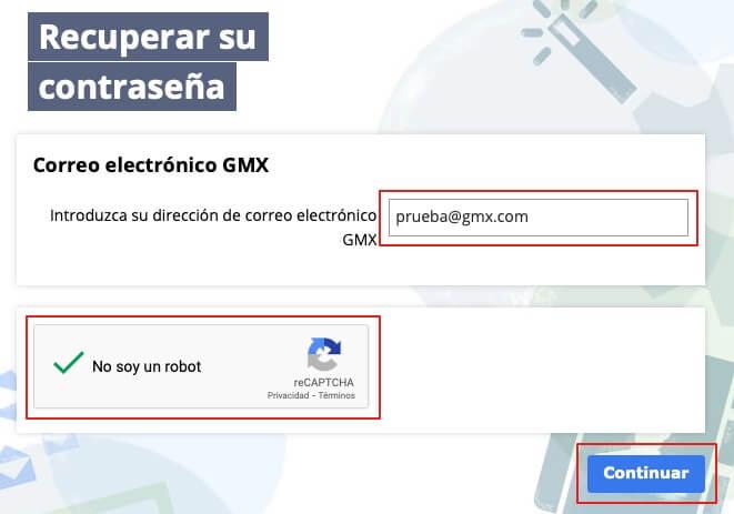 Recuperar dirección de correo de GMX paso 1