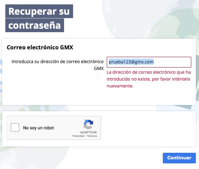 Recuperar dirección de correo de GMX paso 2