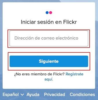 Reiniciar contraseña de Flickr paso 2a