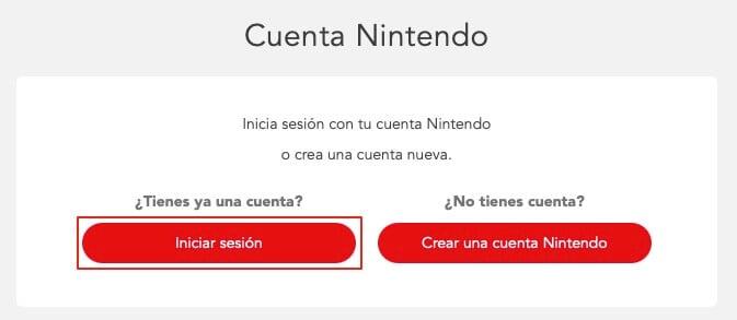 Ingresar a la cuenta de Nintendo paso 2