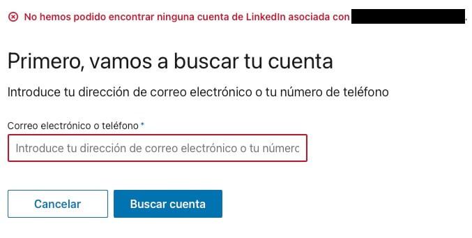 No recuerdo mi correo electronico de LinkedIn paso 1