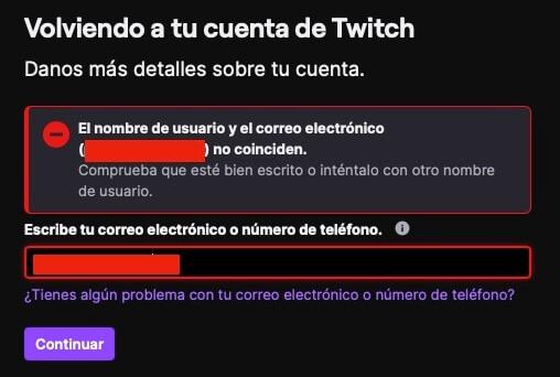 No recuerdo mi email o nombre de usuario en Twitch paso 1