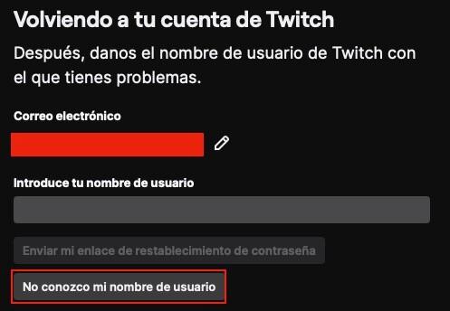 No recuerdo nombre de usuario en Twitch paso 1