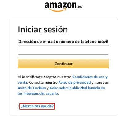 Recuperar contraseña de Amazon paso 2