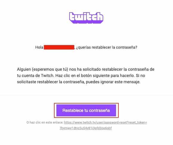 Recuperar contraseña de Twitch paso 5