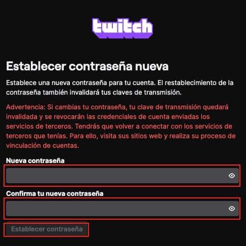 Recuperar contraseña de Twitch paso 6