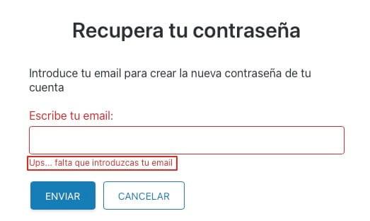 Recuperar correo electronico en InfoJobs paso 1