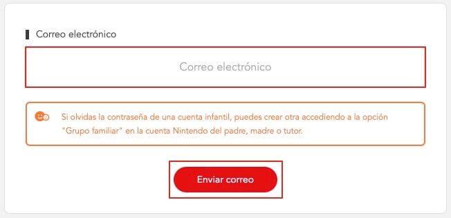 Recuperar la contraeña de la cuenta de Nintendo paso 2