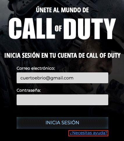 Como reiniciar nuestra contraseña en Call of Duty Warzone paso 2